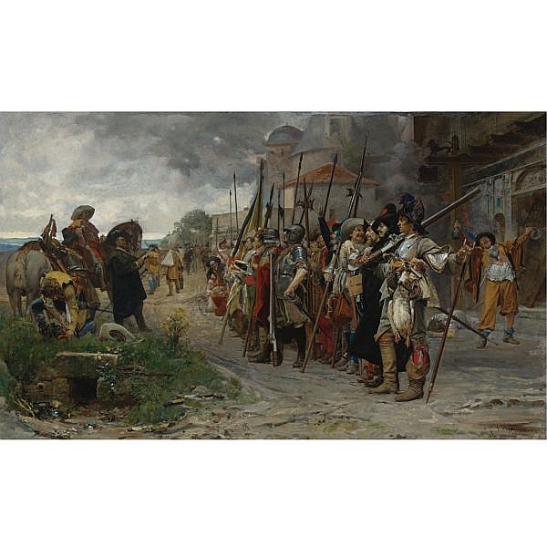 Jehan-Georges Vibert , French 1840-1902 Roll-Call after the Pillage (L'Appel aprés le Pillage) oil on canvas