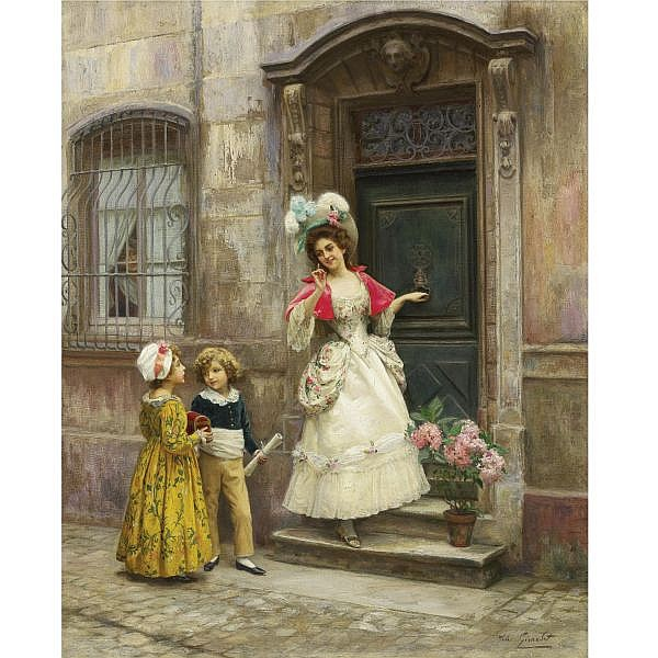 Jules Girardet , French 1856-1938 GRANDMOTHER'S BIRTHDAY oil on canvas