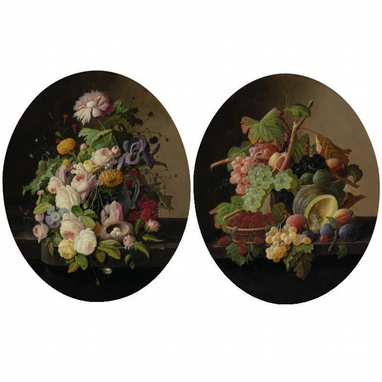 PROPERTY FROM THE COLLECTION OF READER'S DIGEST SEVERIN ROESEN 1815-1872 FLOWERS AND FRUIT: A PAIR