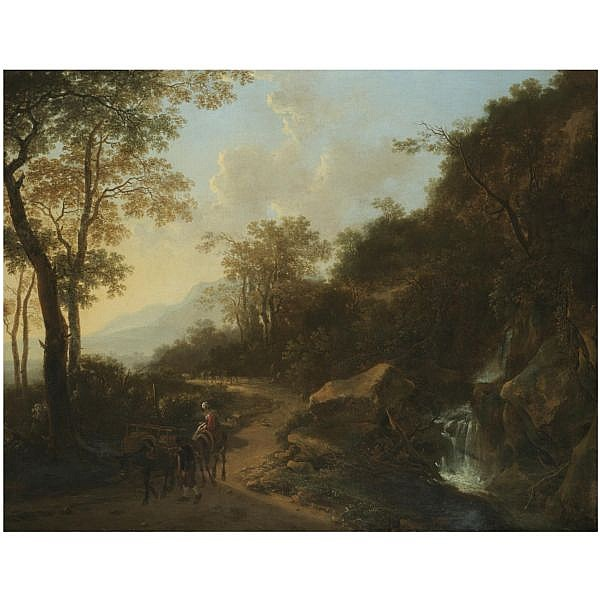 Jan Both , Utrecht circa 1618 - 1652 a mountainous italianate landscape with travellers passing a stream oil on canvas