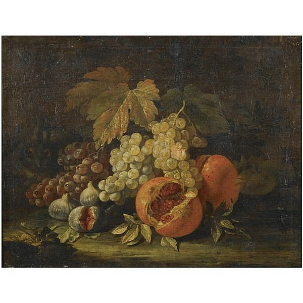 Aniello Ascione , Active in Naples 1680 - 1708 Still life with grapes, figs and pomegranates oil on canvas