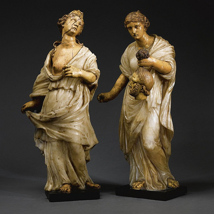 TWO ITALIAN ALABASTER AND 'GIALLO ANTICO' FIGURES OF CLEOPATRA AND JUDITH, FROM THE CIRCLE OF NICOLAS CORDIER (1567-1612), 17TH AND 18TH CENTURIES