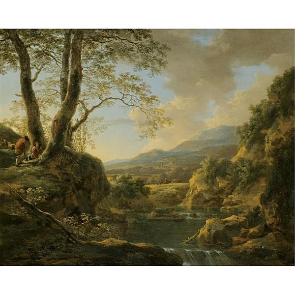 Jan Both Utrecht circa 1618 - 1652 , An extensive river landscape with herdsmen resting their goats under a tree oil on canvas
