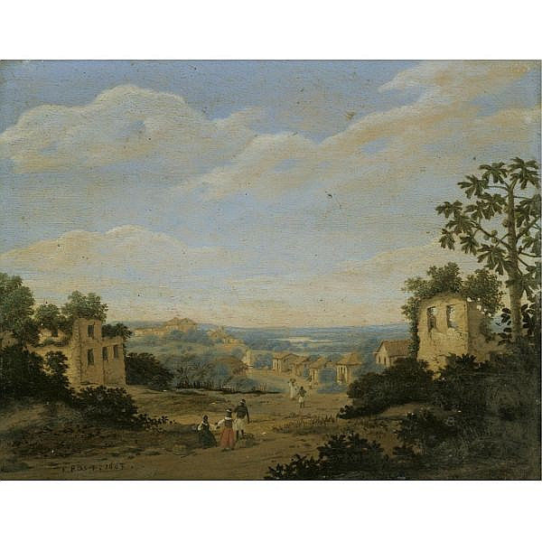 Frans Jansz. Post Haarlem circa 1612 - 1680 , landscape in brazil oil on oak panel
