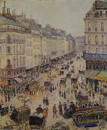 Camille Pissarro 1830-1903 LA RUE SAINT-LAZARE Signed and dated 93 Oil on canvas 283/4 by 23 5/8 in....
