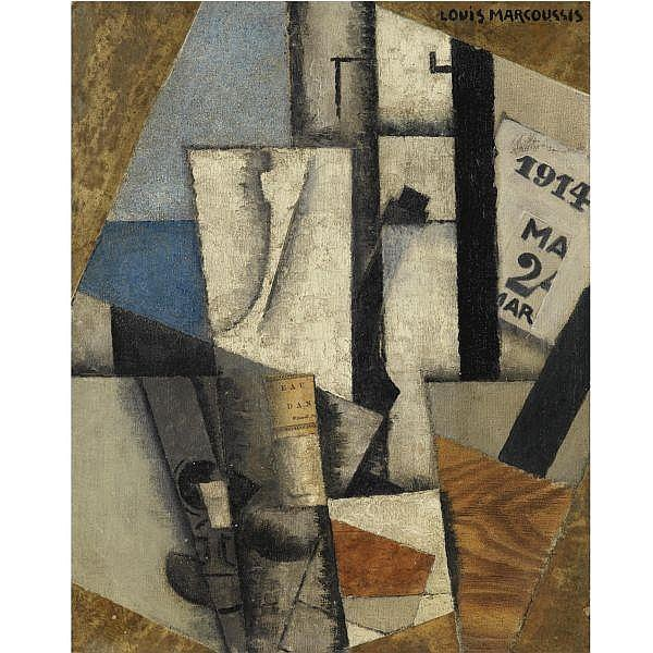 Louis Marcoussis , 1883 - 1941 NATURE MORTE À L'ÉPHÉMÉRIDE oil and collage on canvas