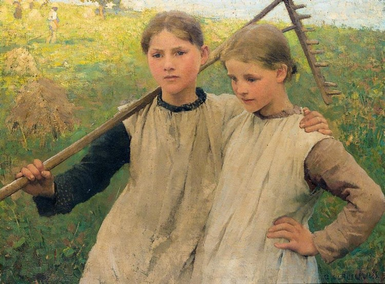 f - SIR GEORGE CLAUSEN, R.A., R.W.S., R.I. 1852-1944 LITTLE HAYMAKERS