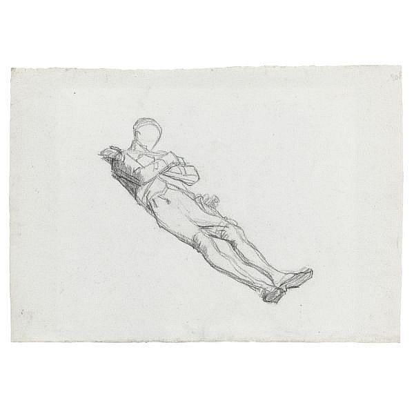 Thomas Couture Senlis 1815 - 1879 Villiers-le-Bel , recto : study of a dead soldier verso : the lower half of a study of a male nude black chalk on light blue paper ( recto and verso ) numbered in black chalk, verso : 24