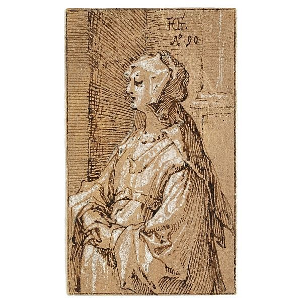 Hendrick Goltzius Mülbracht (Bracht-am-Niederrhein) 1558 - 1617 Haarlem , Standing Woman with a Veil pen and brown ink and white heightening on the verso of a playing card (the seven of hearts) prepared with a light brown ground; within black ink