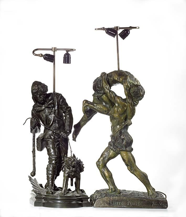 JAMES VIBERT (BORN 1872). A SPELTER GROUP OF 'LUTTE SUISSE', FRENCH SCHOOL DATED 1894