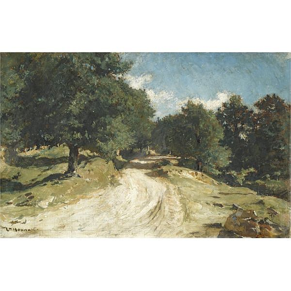 Léon Bonnat , French 1833-1922 Chemin en foret de Fontainebleau oil on canvas laid down on board