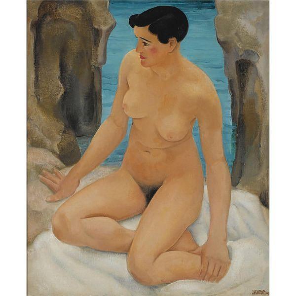 Harmen Meurs (1891-1964) , Nu (au Bord de la Mer) oil on canvas