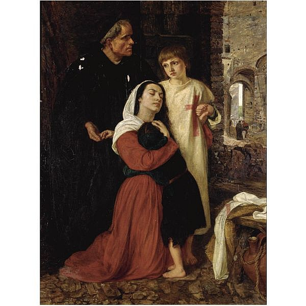 Joanna Mary (Boyce) Wells 1831-1861 , the departure - an episode of the child's crusade, 12th century oil on canvas