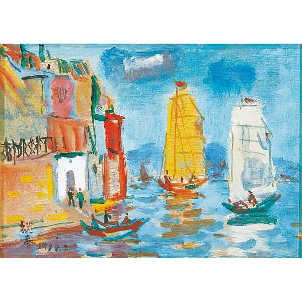 Liao Jichun (Liao Chi-Chun) , 1902-1976 Tamshui 1958 oil on card paper