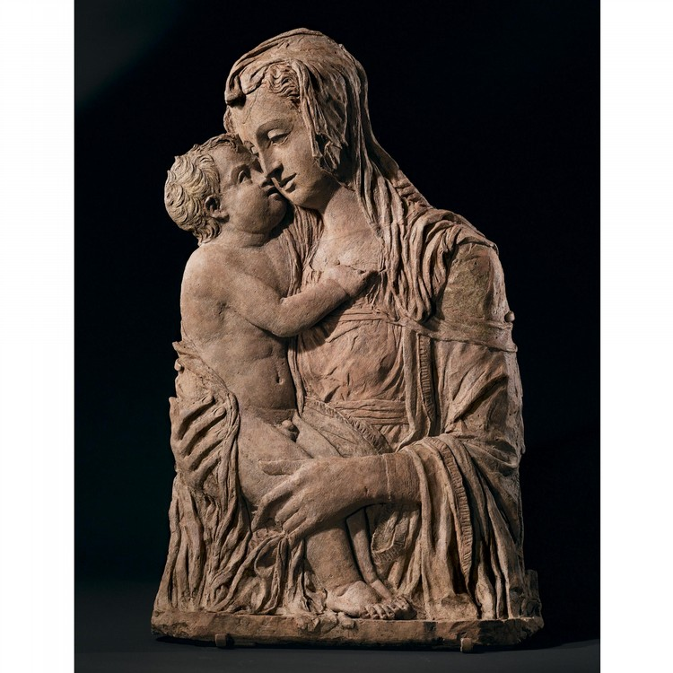 s - AN IMPORTANT ITALIAN TERRACOTTA RELIEF OF THE MADONNA AND CHILD, BY DONATO DI NICCOLO DI BETTO BARDI, CALLED DONATELLO (1386-1466), FORMERLY BELONGING TO THE BORROMEO FAMILY AND IN THE CHURCH OF SAN GIOVANNI BATTISTA IN LISSARO DI MESTRINO,