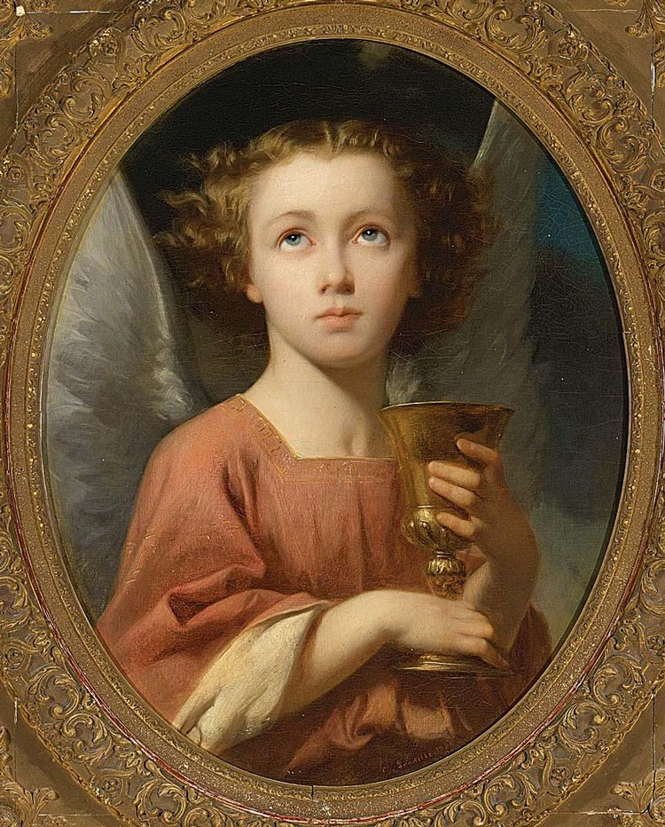 CHARLES ZACHARIE LANDELLE FRENCH, 1812-1908 AN ANGEL HOLDING A CHALICE