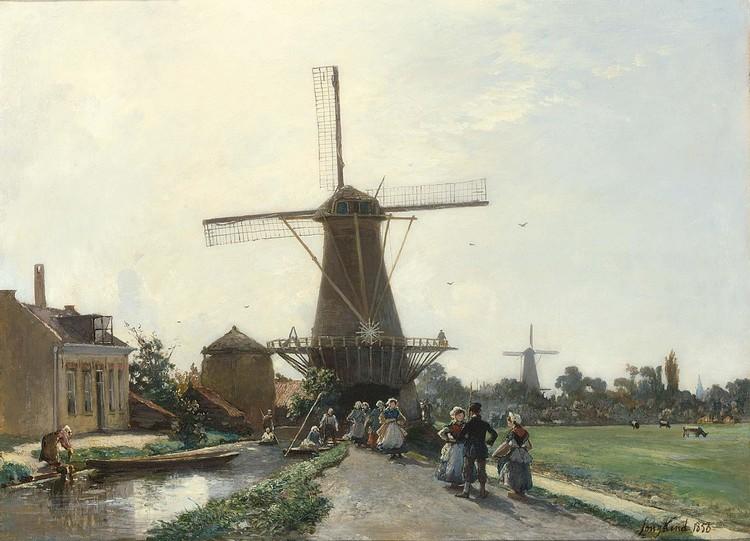 f - JOHAN BARTHOLD JONGKIND DUTCH, 1819-1891 PROMENADE AU BORD DU CANAL, HOLLANDE