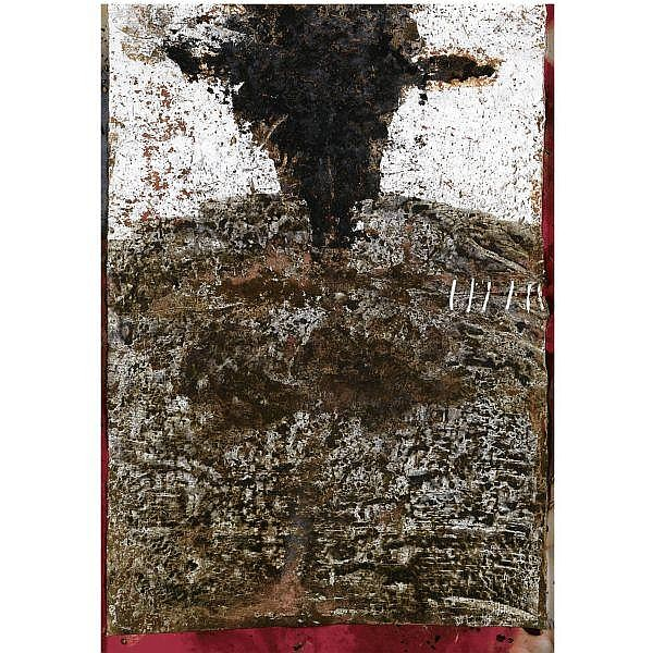 - Suat Akdemir , B. 1960 Untitled   acrylic, combustion, marble dust, ash, burnt wood and earth on canvas
