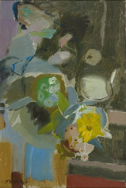 Ivon Hitchens , British 1893 - 1979 FLOWERS IN A BLUE JUG Oil on canvas