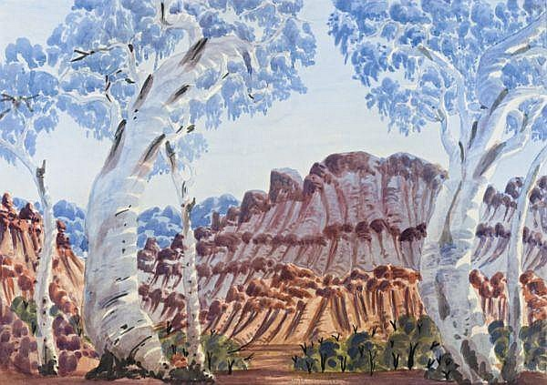 Otto Pareroultja circa 1914-1973 GHOST GUMS watercolour on illustration board