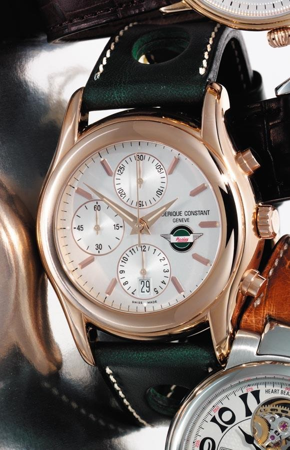c - FRÉDÉRIQUE CONSTANT, 'HEALEY', 2005, NO. 69 OF A LIMITED EDITION OF 99 PIECES; A PINK GOLD AUTOMATIC CHRONOGRAPH WRISTWATCH WITH DATE AND
