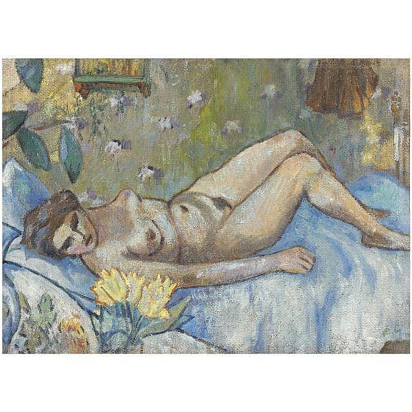 - Mikhail Fedorovich Larionov , 1881-1964 reclining nude oil on canvas