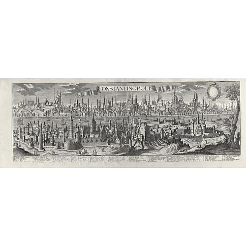 Constantinople--Werner, F.B. , Constantinopolis. Augsburg: G.B. Probst, [1730, or later] , 355 x 1020mm., large engraved panoramic view on 2 sheets joined, detailed key in German and Latin, fine dark impression