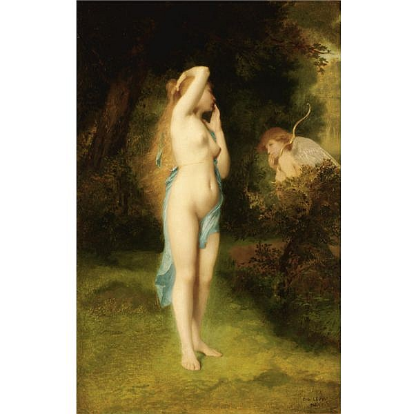 f - Emile Levy , French 1826-1890 venus and cupid oil on panel