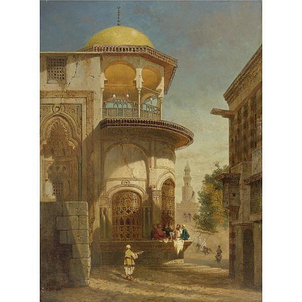 Adrien Dauzats , French 1804 - 1868 a street scene in old Cairo near the Ibn Tulun Mosque oil on panel