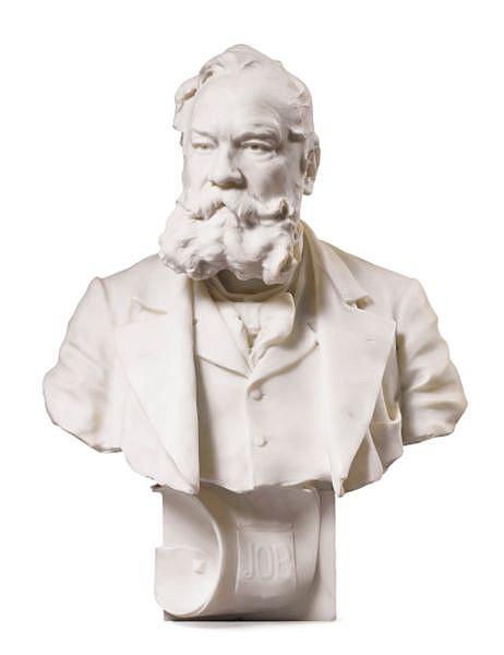 Buste de Jean Bardou France, XIX e siècle, par Victorien-Antoine Bastet (1853-1905) , A French portrait bust of Jean Bardou, by Victorien Antoine Bastet, signed and dated 1892 en marbre blanc