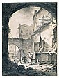 *Thomas Wyck (1616-1677) view into a courtyard with a family at a well.  Signed with monogram lower, Thomas Wijck, Click for value