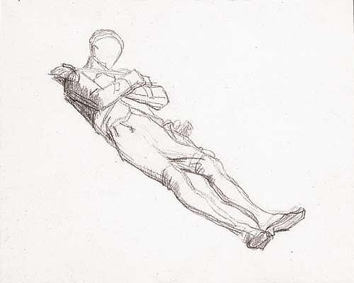 *Thomas Couture (1815-1879) Recto: study of a dead soldier; verso: male figure study.  Black chalk