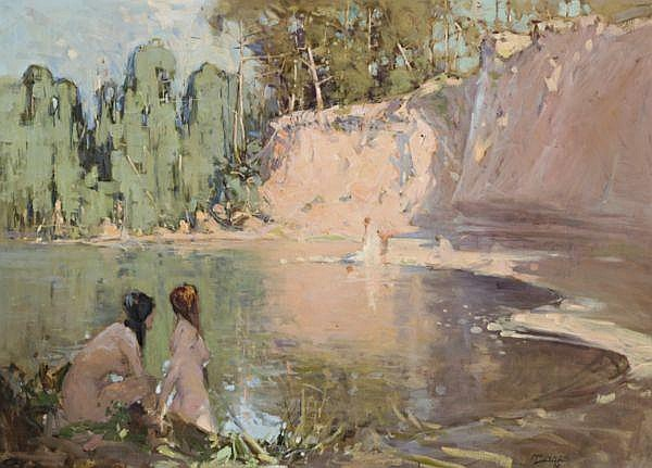 William B. McInnes , Australian 1889-1939 THE BATHERS Oil on canvas