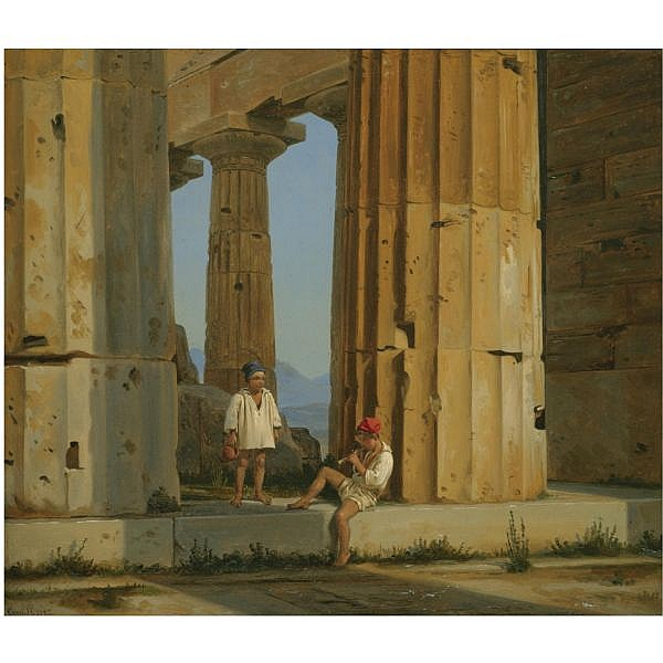 Constantin Hansen , Danish 1804-1880 Neptuns tempel ved Pestum (The Temple of Poseidon, Paestum) oil on canvas