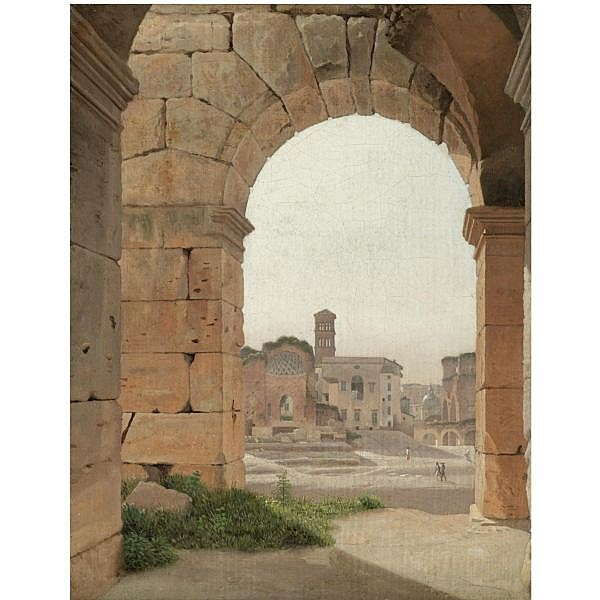 Christoffer Wilhelm Eckersberg , Danish 1783-1853 Forum Romanum set fra Colosseum (The Forum Romanum from the Colosseum) oil on canvas