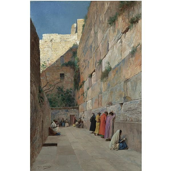 Eugène Girardet , French 1853-1907 the Wailing Wall oil on canvas