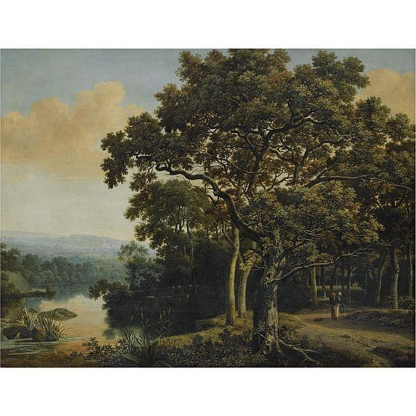 Joris van der Haagen , Dordrecht circa 1615 - 1669 The Hague A wooded landscape with a gypsy woman with two children on a path, beside a lake at sunset oil on canvas