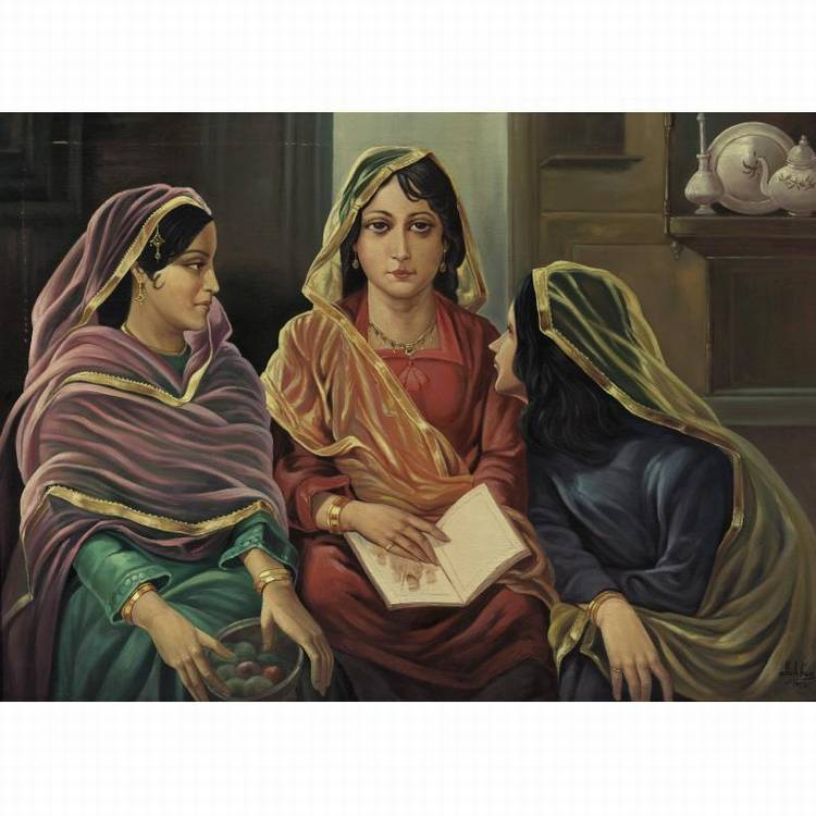 PROPERTY FROM A PRIVATE ASIAN COLLECTOR ALLAH BUX (1895-1978) THREE SISTERS MODERN PAINTINGS