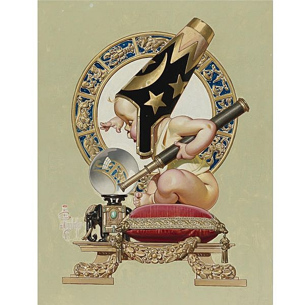 Joseph C. Leyendecker 1874-1951 , New Year's Baby oil on canvas