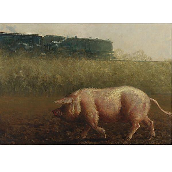 Jamie Wyeth B. 1946 , Pig and The Train oil on canvas