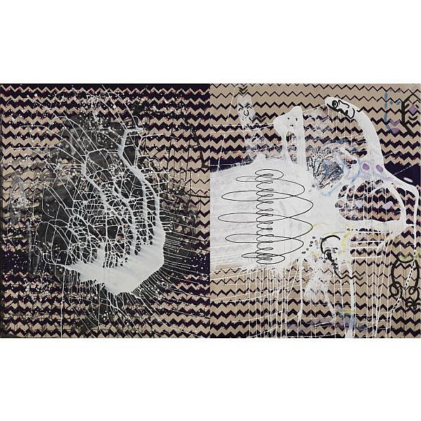 Sigmar Polke , b. 1941 Spirale oil and lacquer on fabric in two panels