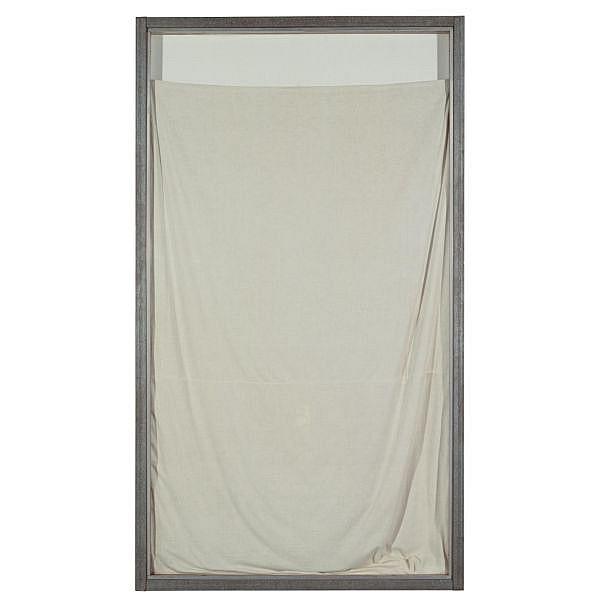 - Christo , b.1935   Show Window white linen, lacquered Masonite and Plexiglas in aluminium and galvanized metal frame