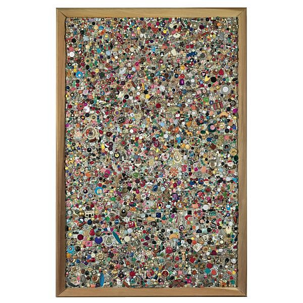 - Mike Kelley , b. 1954 Memory Ware Flat #2 paper, pulp, tile grout, acrylic, miscellaneous beads, buttons, and jewelry on wooden panel