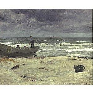 JOHN SLOAN 1871-1951 GRAY DAY, JERSEY COAST Measurements: 22in. by 26 .25in. Alternate Measurements: (56 by 66.6 cm) signed John Sloan, l.r. oil on canvas Painted in 1911. Provenance: Estate of the artist Mrs. Helen Farr Sloan (the artist's wife)