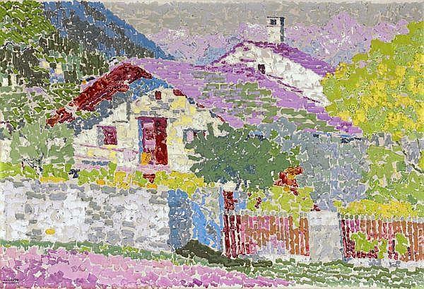 Augusto Giacometti 1877 - 1947 , BERGDORF (HAUS UND GARTEN IN STAMPA)   MOUNTAIN VILLAGE (HOUSE AND GARDEN IN STAMPA) Öl auf Leinwand