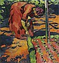 - Cuno Amiet 1868-1961 , FRAU IM GARTEN, 1911   WOMAN IN THE GARDEN, 1911 Öl auf Leinwand   , Cuno Amiet, Click for value