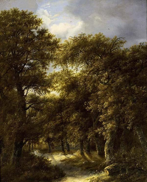 GILLIS ROMBOUTS HAARLEM 1630 - 1672 A WOODED LANDSCAPE WITH TWO SHEPHERDS RESTING ON A PATH WITH A