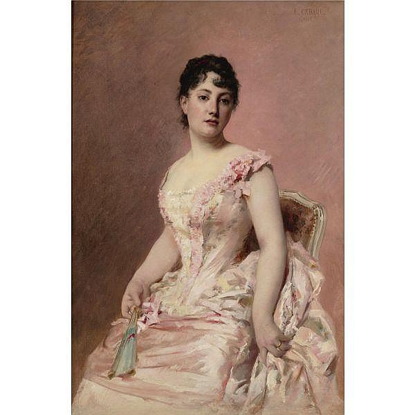 Édouard Cabane 1857 - 1957 , Lady in pink oil on canvas