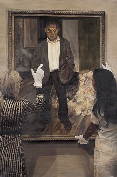 Annie Cabigting b. 1971 , Painting Photograph, Photograph Painted (After Lucian Freud) oil on canvas