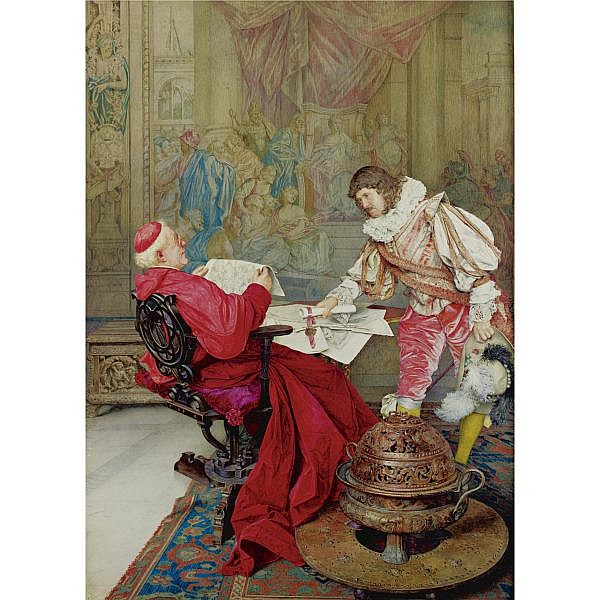 Giuseppe Signorini 1857-1932 , A Musketeer presenting a petition for the Pope to the Cardinal Secretary of state watercolor and gouache on paper laid down on board